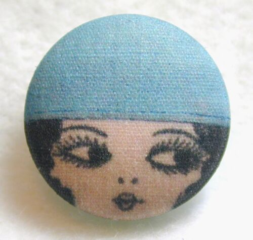 "1920s Flapper Girl  Button Hand Printed Fabric /""Luna/"""