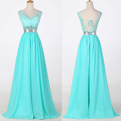 Wedding Guest Long Lace Backless Evening Formal Party Bridesmaid Prom Gown Dress
