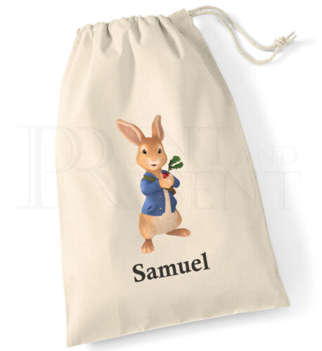 Personalised Peter Rabbit Drawstring Canvas Gym Pump PE  Bag