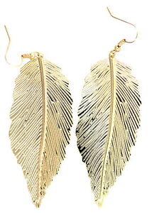 Large-gold-tone-leaf-dangle-earrings