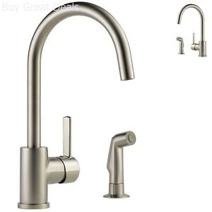 Details About Delta Peerless Apex Single Handle Stainless Ada Kitchen Faucet With Spray New