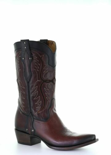 Corral Men/'s Western Boots Wine Black Embroidery Studs G1512
