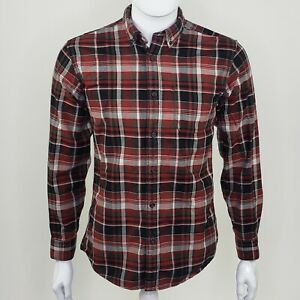 Eddie-Bauer-Men-039-s-Classic-Fit-Red-Plaid-Flannel-Long-Sleeve-Button-Down-Small-S