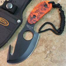 "6.5"" Orange Camo Gut Hook Sharp  Hunting Skinning Knife, Sheath  211189 ZIX"