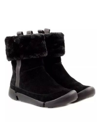 Clarks Tri Attract Black Warm Suede Women's Boots Size UK 4 1 2D