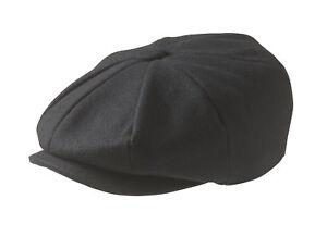 100% Melton Wool Black Newsboy Cap