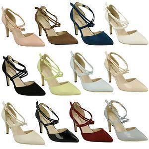 f10551 mujer cruzado Correas Elegante Tacones Punta Afilada Zapatos de salón