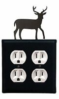 Black Wrought Iron Deer Double Electrical Outlet Covers Country Wall Decor