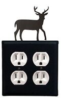 Village Wrought Iron EOO-3 Deer Double Outlet Cover - Black Home Furnishings