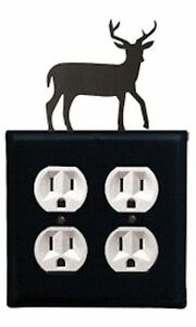 Image Is Loading Wrought Iron Deer Double Electrical Outlet Covers New