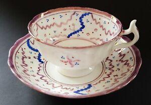 Sunderland-pink-lustre-vintage-Victorian-antique-cup-amp-saucer-duo-D