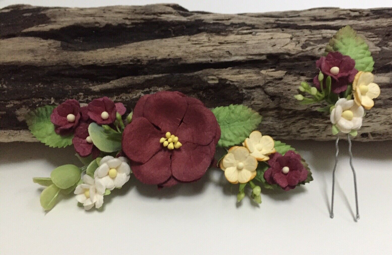 Set Of 2 Wine Flower Hair Clip Pin Whimsical Wedding Handmade Bridal Party Gift
