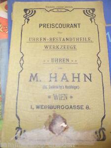 FäHig 20456 Hahn Wien Katalog Uhrenbestandteile Werkzeuge 1900 Harmonische Farben