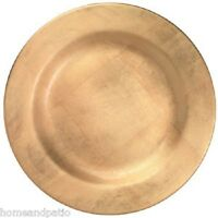 "Merritt Gold Foil Holiday Sparkle 15"" Round Melamine Charger Serving Platter"