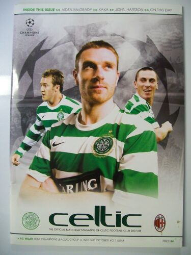 Football Programme. UEFA Champions League Group D 03.10.2007. Celtic v AC Milan