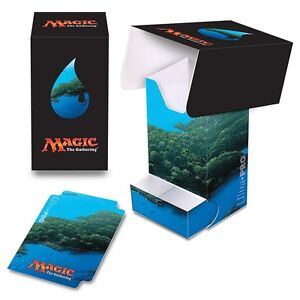 MANA V ISLAND BLUE ULTRA PRO DECK BOX WITH DICE TRAY FOR MTG CARDS