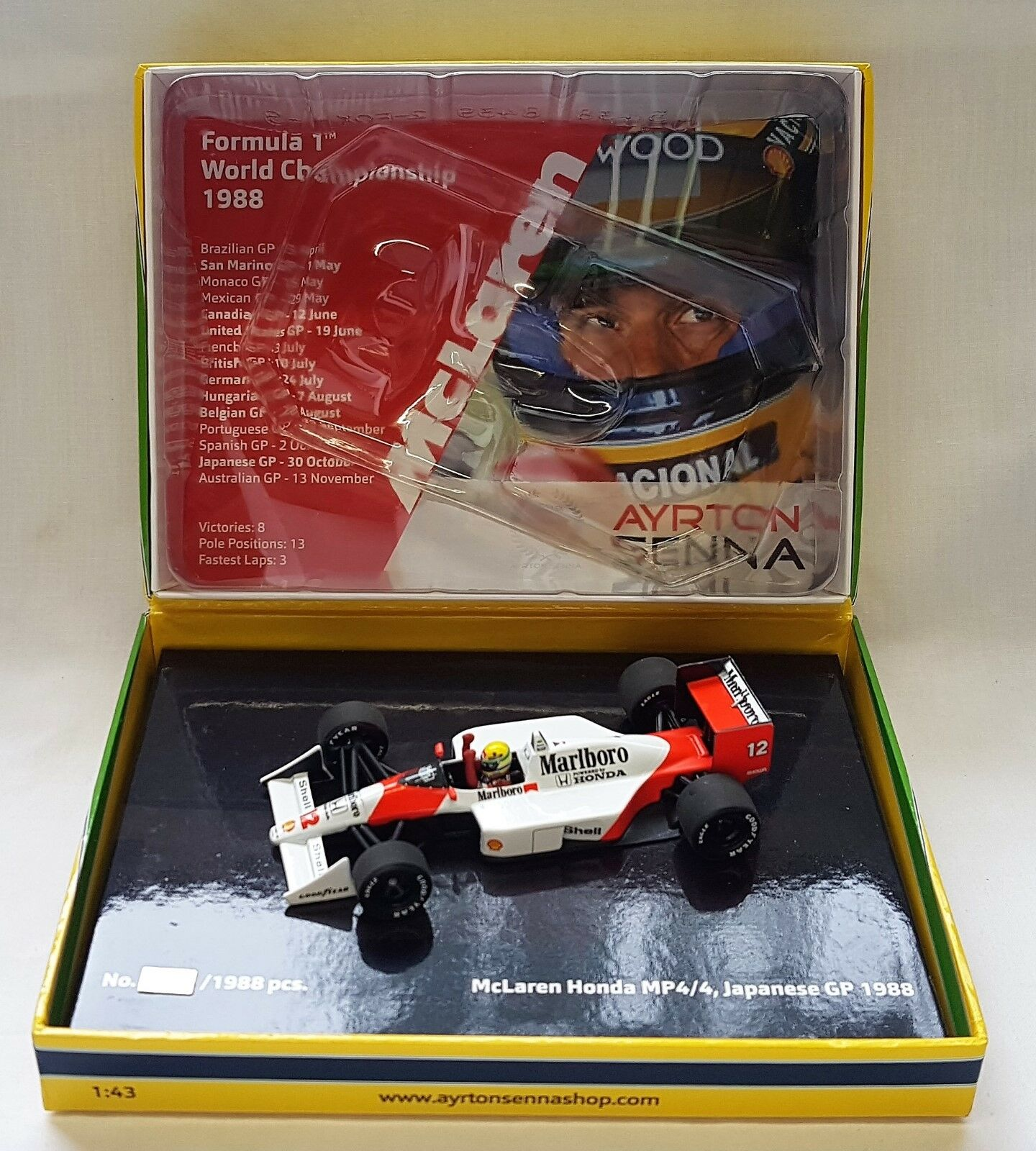 Minichamps 543884392 - McLaren Honda MP 4/4 Ayrton Senna 1988 Japanese GP