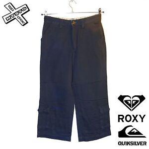 QUIKSILVER-ROXY-039-RIP-TIDE-039-CAPRI-TROUSERS-3-4-CHARCOAL-SHORTS-UK-10-28-034-BNWT