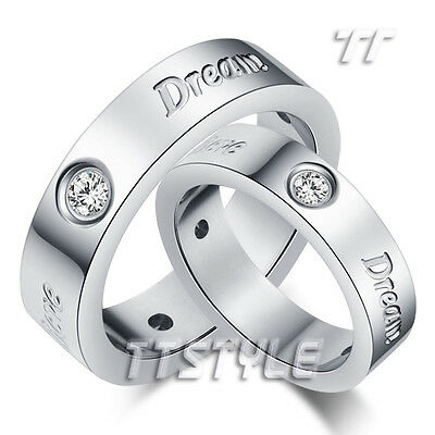 TT Shining S.Steel Dream Hope Believe Wedding Band Ring For Couple Size 6-13