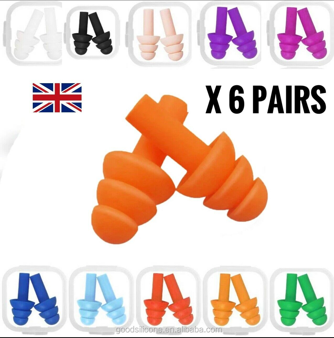 * 6 * Pairs Reusable Soft Silicone Ear Plugs In Cases Sleep Anti Noise Earplugs