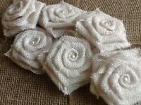 Six White Burlap Flowers With Lace Rose Rustic Wedding Outdoor Table Country