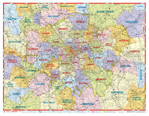 London Postcode Map by AZ Maps GLOSS LAMINATED WALL MAP eBay