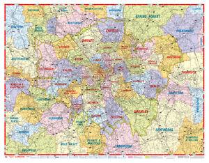 London Postcode Map By A Z Maps Gloss Laminated Wall Map Ebay