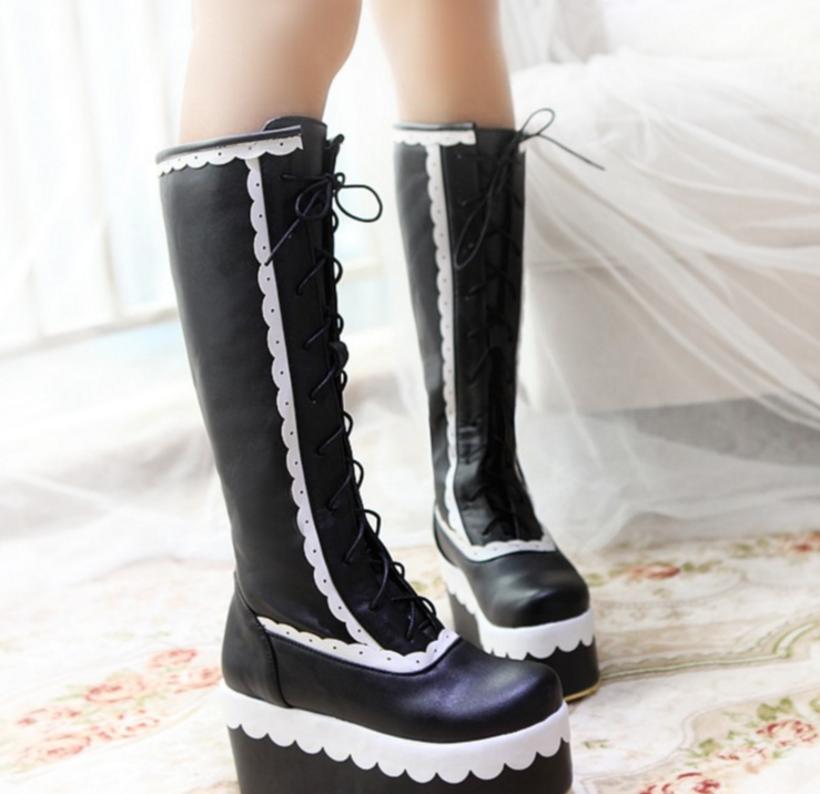 Gothic femmes Lolita Cosplay Knee High bottes Bowknot Lace up Block Heel bottes Hot
