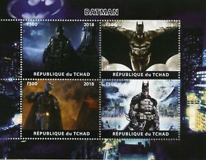 Chad-2018-CTO-BATMAN-4-V-M-S-DC-COMICS-SUPEREROI-FILM-PELLICOLA-FRANCOBOLLI