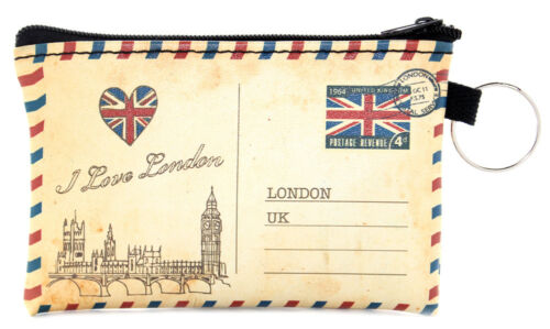 British i Love London Postcard Design Travel Small Card Coin Zipped Purse