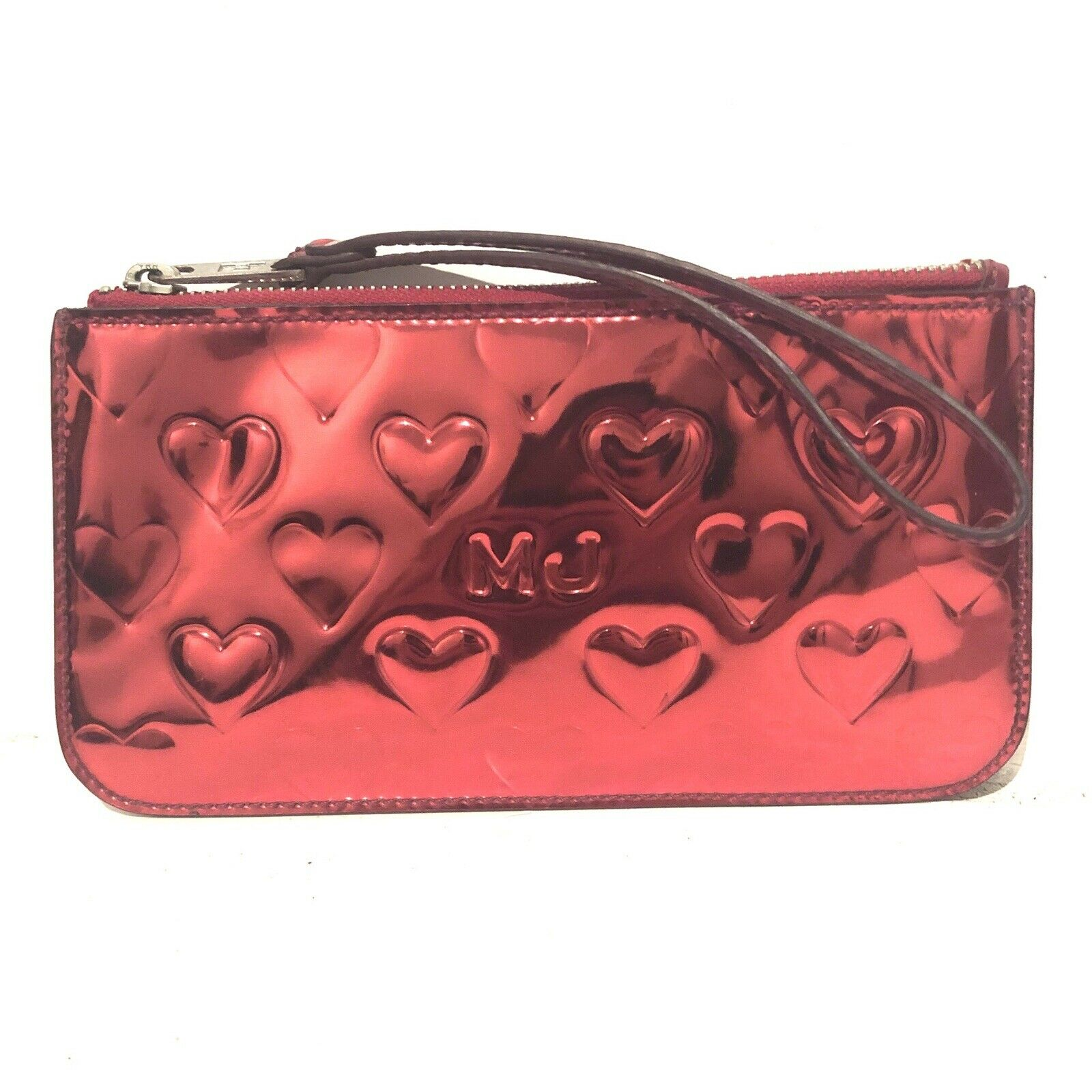 MARC JACOBS Mirrored Red Leather Clutch Zip Up Purse