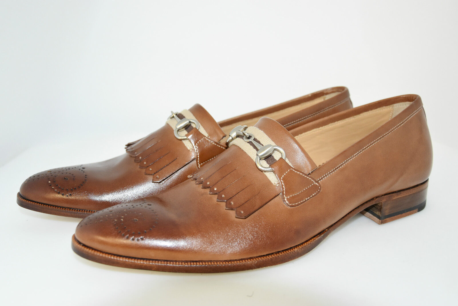 MAN-8eu-9usa-HORSEBIT LOAFER-MOCASSINO-CALF Marroneee-LEATHER SOLE-SUOLA CUOIO