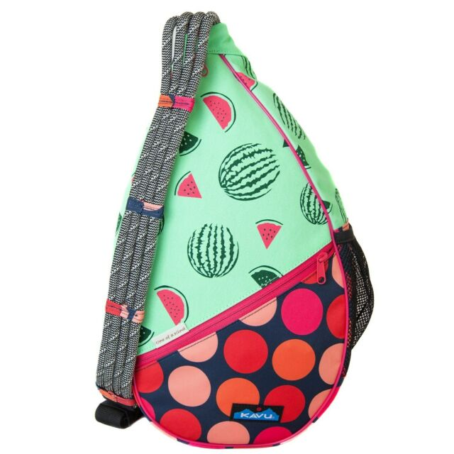 9c21bb2838 Kavu PAXTON PACK Sling Backpack Cotton Canvas Messenger Bag WATERMELON NWT