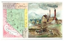 Nevada State Map & Silver Mine Arbuckles Ariosa Coffee Victorian Trade Card VT22