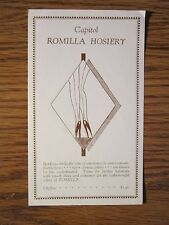 Vintage Stockings Advertising Insert Capitol Romilla Hosiery Silk Seamed Hose