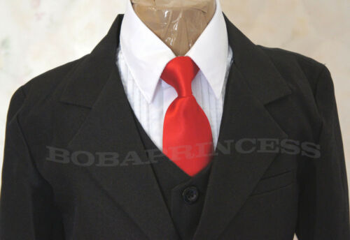 #51 NEW FORMAL BOY BLACK 6 PCS SUIT SET,Wedding//Recital//Graduation Sz 4//5//6//7