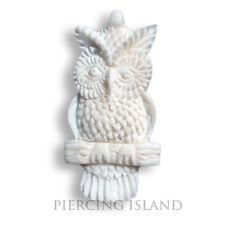Weisse Eule Owl Amulett Anhänger mit Band Kette Bone Knochen PB030