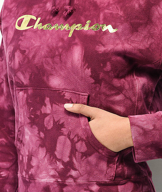NEW CHAMPION DARK BERRY REVERSE WEAVE SCRUNCH DYE METALLIC LOGO LOGO LOGO HOODIE SZ XS a57d43