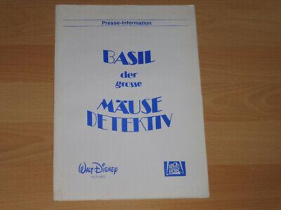 Walt Disney Presseheft ´86 Der Grosse MÄusedetektiv Erfinderisch Basil