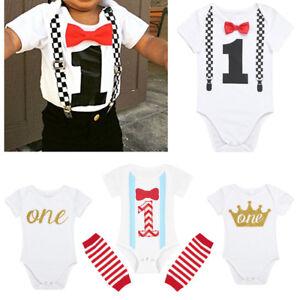 9045de608540 Infant Baby Boy Girl 1st Birthday Romper Bodysuit One Year Party ...