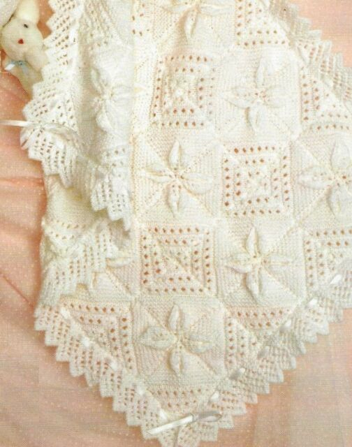 Baby Blanket Cushion Pram Cover Knitting Pattern Dk 338 For Sale