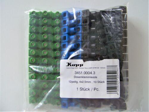 Dosenklemmen Dosenklemmleiste Kopp 345100043 farbig 10 Reihen Riegel 12 polig