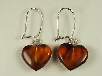 Romantic Cognac Amber Heart Dangle Earrings in Sterling Silver