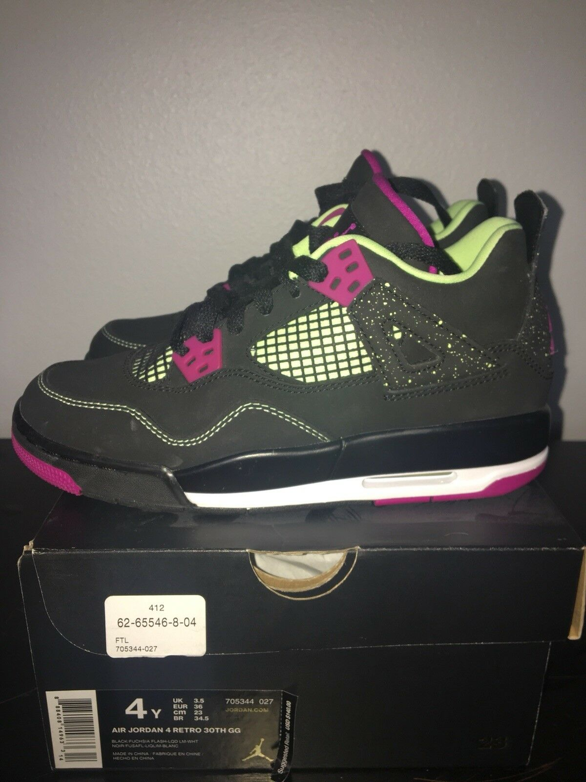 Air Jordan 4 Retro 30th gs 4y Black fuscia lime