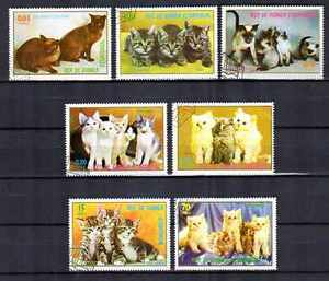 Chats-Guinee-equatoriale-18-serie-complete-de-7-timbres-obliteres