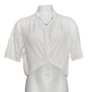 Isaac Mizrahi Live! Women's Sweater Sz L Cropped Shrug White