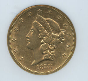 1858 S $20 Gold Double Eagle NGC AU 58 Super Scarce Great Eye Appeal