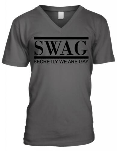 SWAG Secretly We Are Gay Pride Parody Word Play Funny Humor Mens V-neck T-shirt
