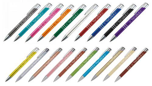 """20 Kugelschreiber mit Gravur /""""Viel Glück/"""" aus Metall 20 verschiedene Farben"""
