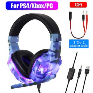 Gaming Kopfhörer Headset mit Mikrofon HD Stereo LED für PS4 PC Laptop Xbox One